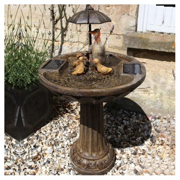 Umbrella Duck Family Birdbath Solar Water Feature