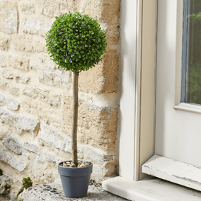 Pack of 2 Uno Topiary Trees in Pots with Pebbles (40cm)