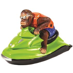 Cool Orangutan on Green Jet Ski Garden and Home Ornament