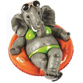 Elephant Wearing Bikini in Orange Rubber Ring Garden and Home Ornament