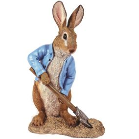 Digging Rabbit with Blue Spade Garden Ornament