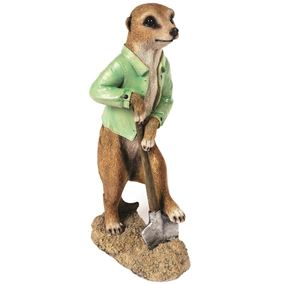 Standing Meerkat Digging with a Spade Garden Ornament