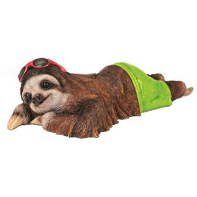 Cool Sunbathing Sloth in Green Shorts Garden Ornament