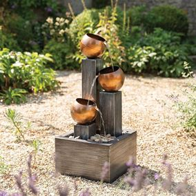 Stacked Copper Pouring Jugs Garden Water Feature