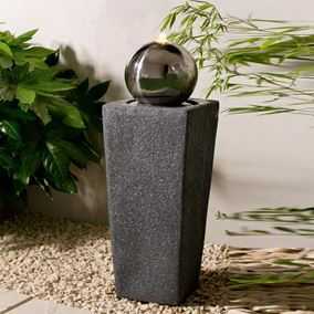 Tower Outdoor Garden Patio Water Feature with Stainless Steel Sphere and LED Light