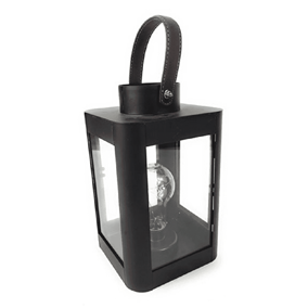 Black Metal Lantern Light with Retro Bulb and Warm White Micro LED's