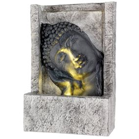 Reclining Buddha Head LED Lit Oriental Water Feature