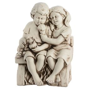 Children on Bench Outdoor Garden Statue Stone Effect