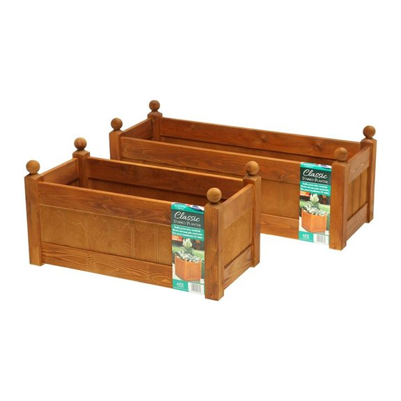additional image for 34'' Classic Beech Stain Wooden Planter Trough with Plastic Liner