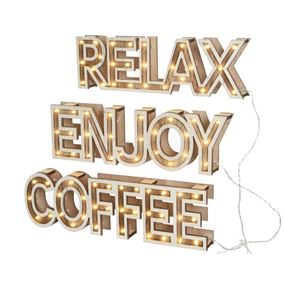 Set of 3 LED Lit Battery Powered Indoor Wooden Signs Relax Enjoy Coffee