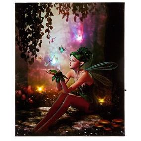 Fantasy Fairy Print Canvas with Battery Operated LEDs