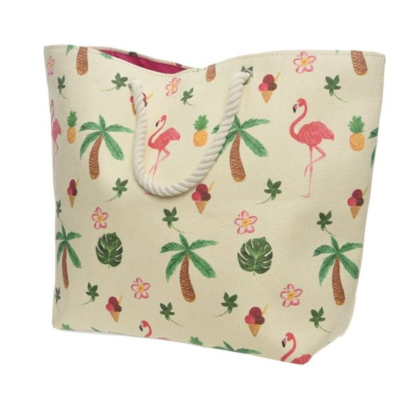 Flamingo Patterned Beach Bag With Rope Handle