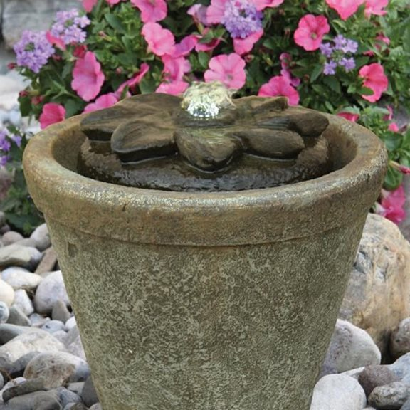 additional image for Flower Fountainette Lit Water Feature