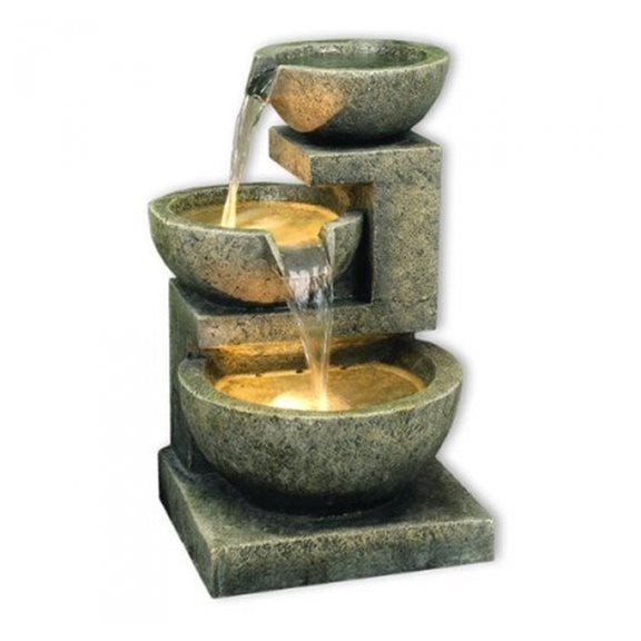 Small Kyoto Three Bowl Cascade Water Feature with LED Lights