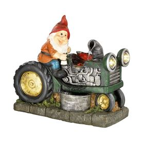 Gnome in Tractor With LED Light and Mist Maker Water Feature
