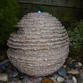 50cm Rustic Pink Granite Sphere Water Feature Kit