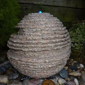 40cm Rustic Pink Granite Sphere Water Feature Kit
