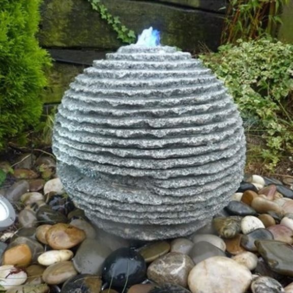 additional image for 40cm Rustic Grey Limestone Sphere Water Feature Kit