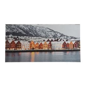 Lit Harbour Scene Indoor Wall Canvas