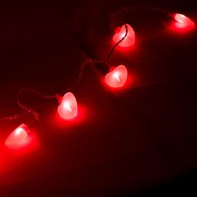 30 LED Lit Pink Heart String Lights
