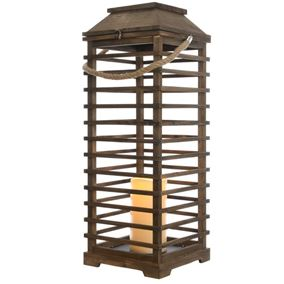 75cm LED Wooden Lantern with Flickering Candle and 6 Hour Timer Function