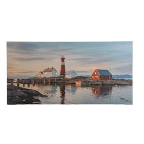 Lit Lighthouse Scene Indoor Wall Canvas