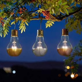 Pack of 3 Firefly Eureka Solar Powered Retro Garden Lights (Rose Gold, Silver and Copper)