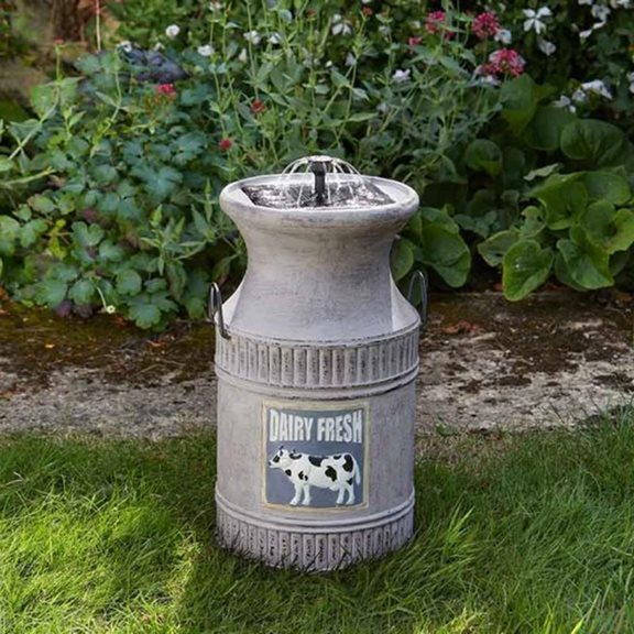 Milk Churn Solar Powered Garden Water Feature
