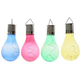 Pack of 4 Solar Powered Multi Coloured Retro Light bulbs