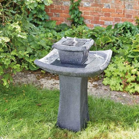 additional image for Pagoda Oriental Solar Powered Garden Water Feature Bird Bath