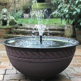 Lotus Red Bowl Patio Pond Water Feature with White LED Spotlight