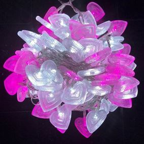 100 LED Multi Function Pink and White Heart String Lights