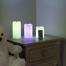 Set of 3 Colour Changing Flickering Candles with Remote Control