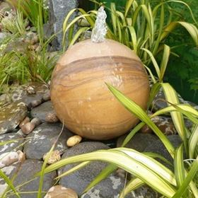30cm Rainbow Sandstone Drilled Sphere Water Feature Kit