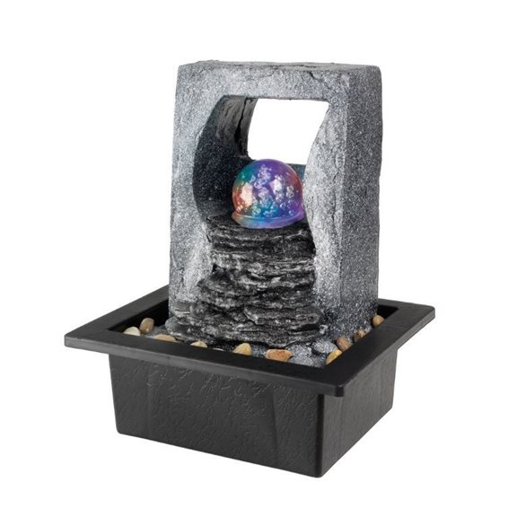 Slate Falls Open Back Indoor Table Top Water Feature with Glass Spinning Ball