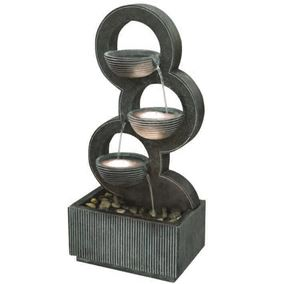 Stacked Circular Bowls Modern Lit Water Feature