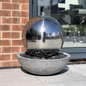 Large Stainless Steel Sphere in Bowl Water Feature with LED Lights
