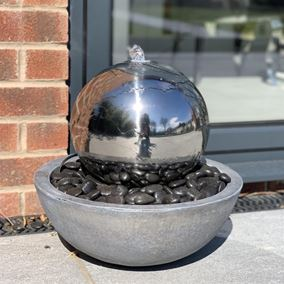 Stainless Steel Sphere in Bowl Water Feature with LED Lights
