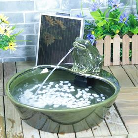Ceramic Frog Solar Fountain Water Feature with LED Light and Battery Back Up
