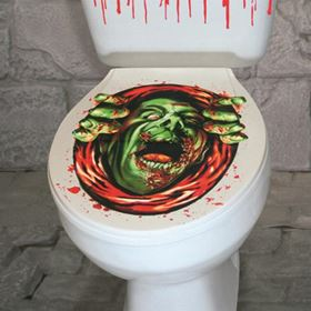 Creepy Halloween Toilet Seat Decorative Cover Green Monster Design