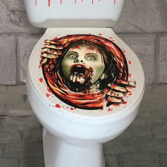 Creepy Halloween Toilet Seat Decorative Cover Girl Climbing Out Design