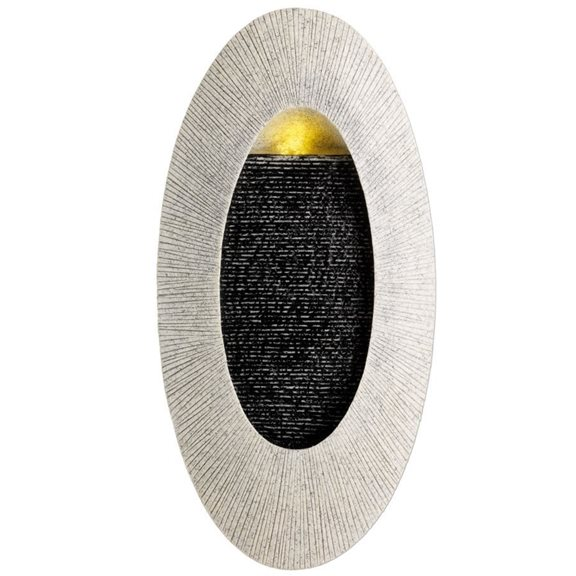 Oval Sandstone Wall Hanging Water Feature with Warm White LED's