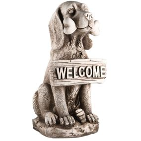 Dog With Welcome Sign Garden Statue