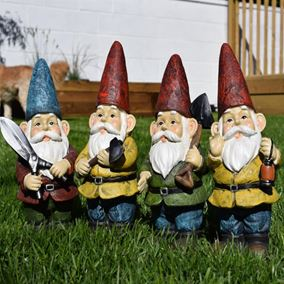 Set of 4 Working Garden Gnomes